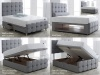 Vogue Diamante Upholstered Fabric Storage Bed Frame