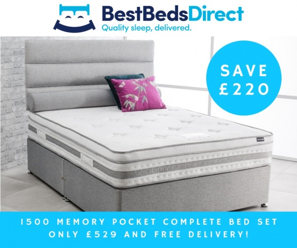 1500 Memory Pocket Sprung Divan Bed with Mattress and Headboard