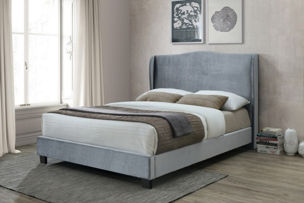 Birlea Dover Silver Fabric Upholstered Bed Frame