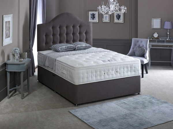 Bedmaster Laytec Foam Cushion Top 1500 Pocket Sprung Divan Bed Set