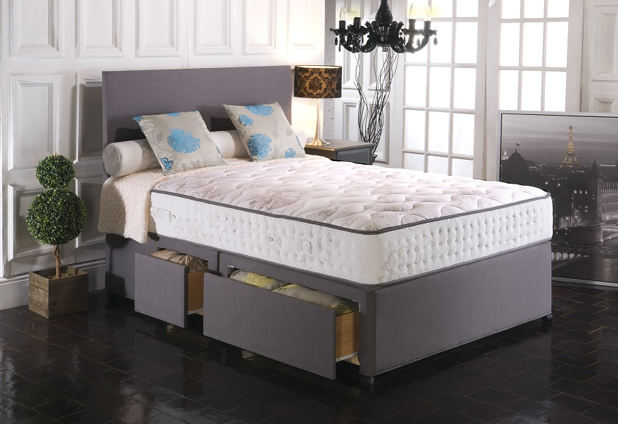Vogue Empress 2000 Pocket Sprung Blu Cool Memory Foam Divan Bed Set