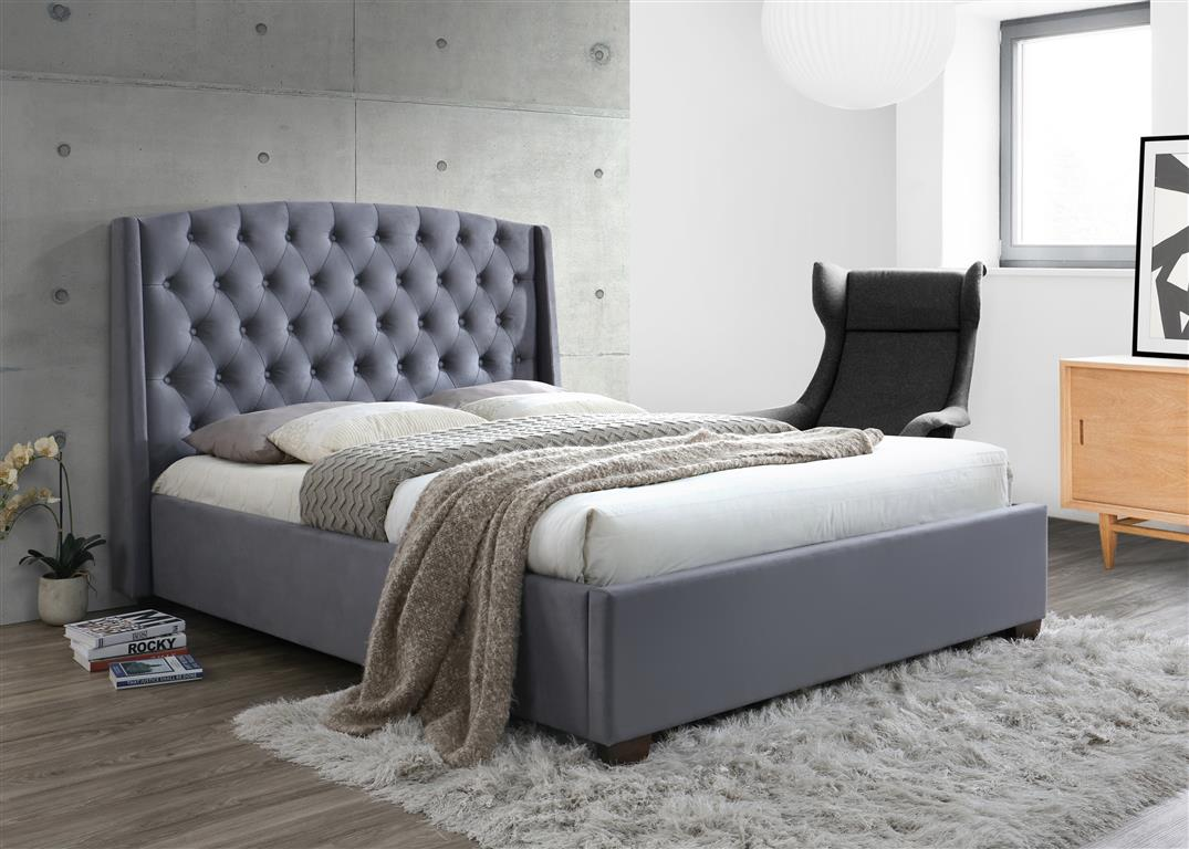 Birlea Birkhall Fabric Upholstered Grey Velvet Bed Frame