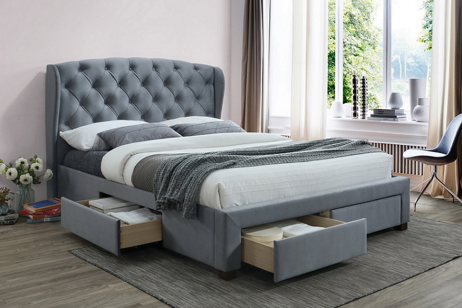 Birlea Hope 4 Drawer Winged Grey Velvet Bed Frame