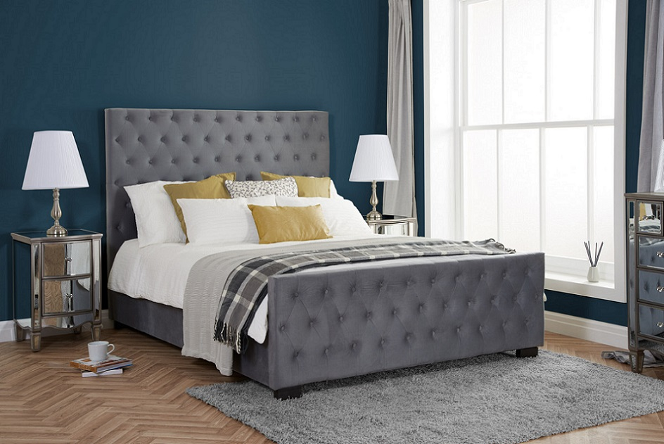 Birlea Marquis Grey Velvet Fabric Upholstered Bed Frame
