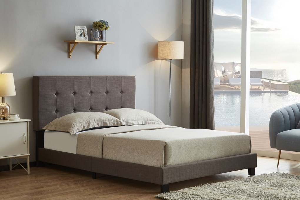 Birlea Rochelle Textured Grey Fabric Upholstered Bed Frame
