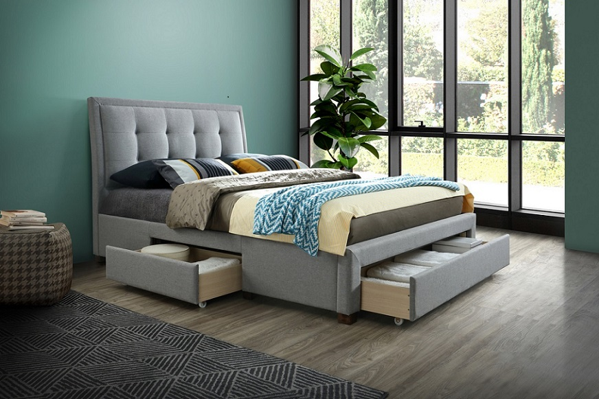 Birlea Shelby 3 Drawer Fabric Upholstered Grey Bed Frame