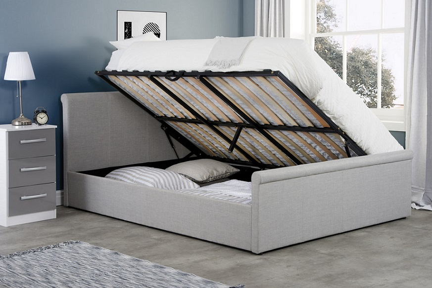 Birlea Stratus Silver Fabric Upholstered Ottoman Bed Frame