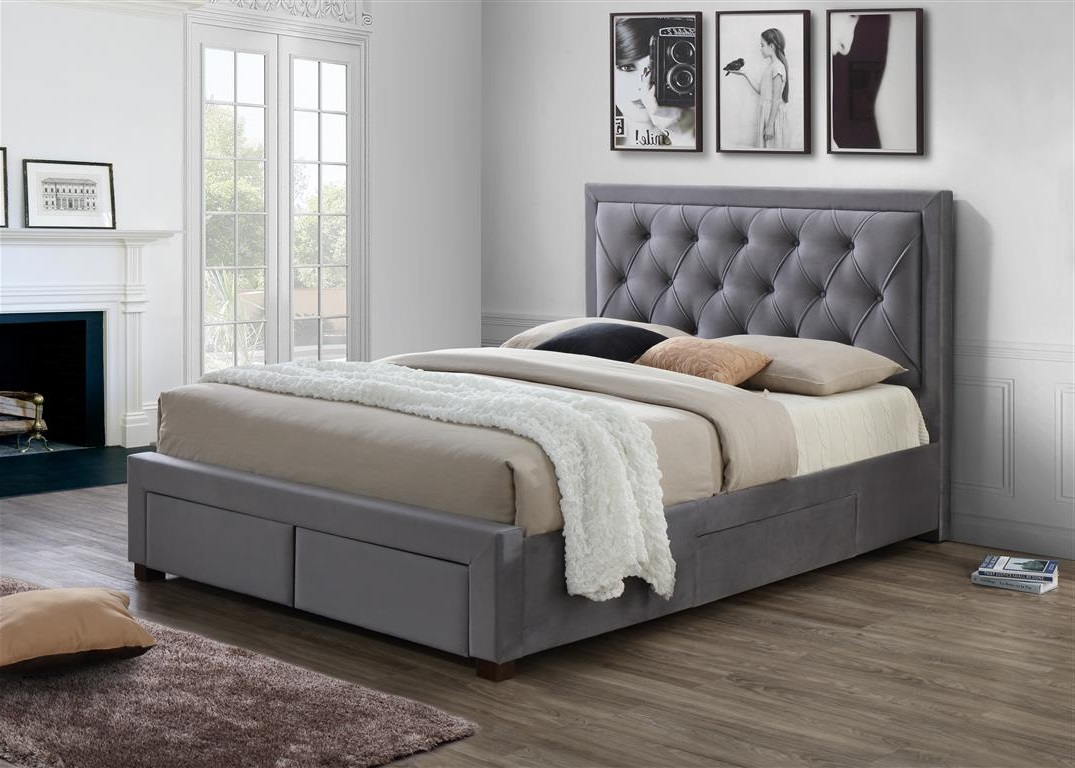 Birlea Woodbury 4 Drawer Grey Fabric Bed Frame
