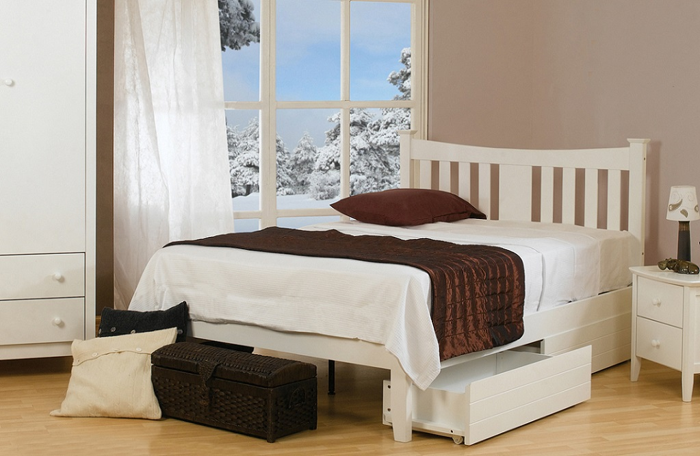 Sweet Dreams Kingfisher White Solid Wood Bed Frame
