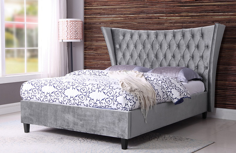 Sweet Dreams Parker Pewter Velvet Upholstered Fabric Bed Frame
