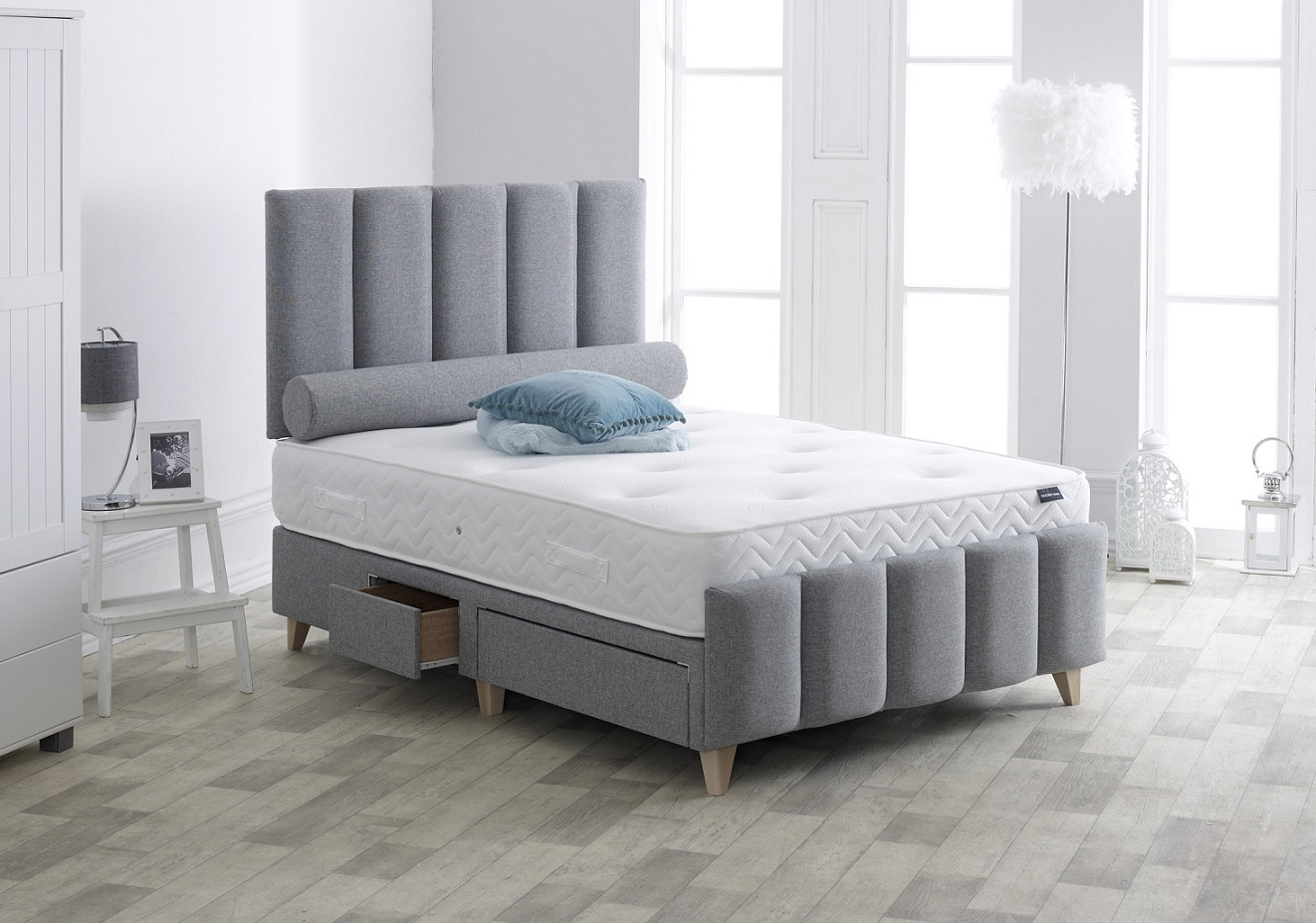 Vogue Cambridge Upholstered Fabric Storage Bed Frame