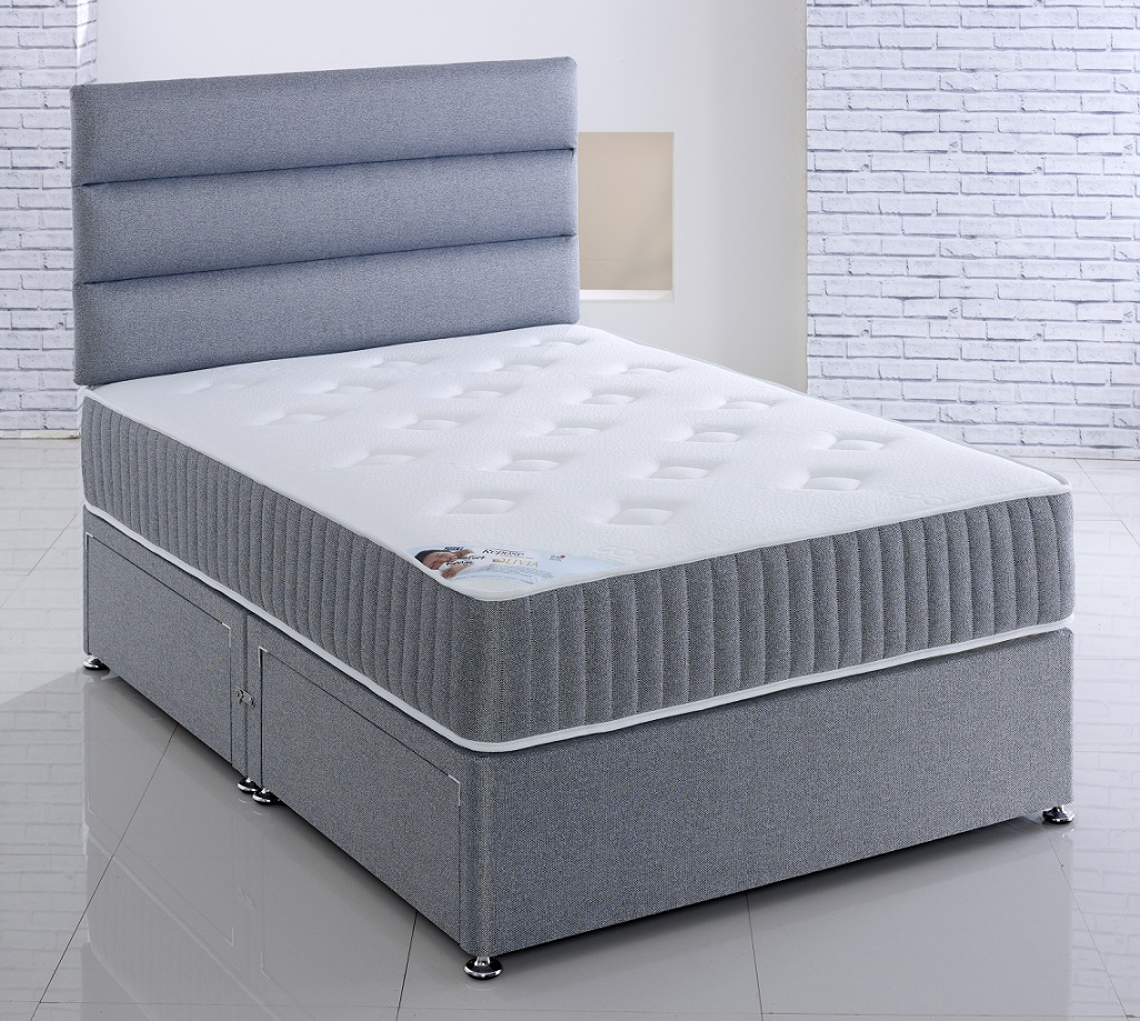Repose Olivia High Lofted Open Coil Spring Unit Cool Touch Fabric Divan Bed Set