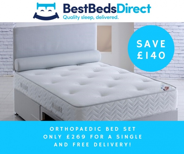 Orthopaedic Divan Bed with Mattress and Headboard