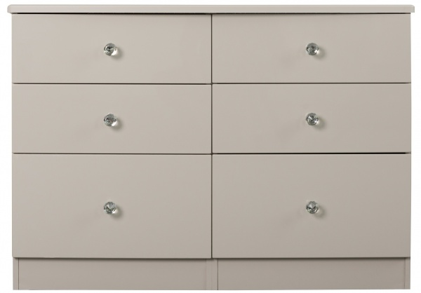 Oscar High Gloss Grey 6 Drawer Chest of Drawers