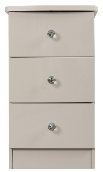 Oscar Cashmere Pale Grey 3 Drawer Bedside Table