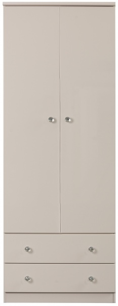 Oscar High Gloss Grey 2 Door Combi Wardrobe