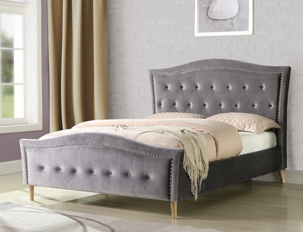 Sweet Dreams Austin Pewter Velvet Upholstered Fabric Bed Frame