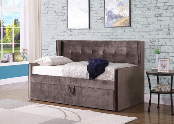 Sweet Dreams Lucas Mink Velvet Upholstered Fabric Day Bed