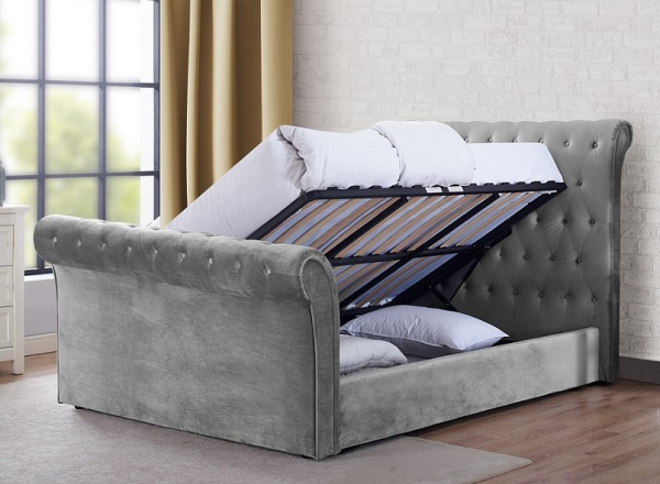 Sweet Dreams Maxine Plush Grey Upholstered Fabric Ottoman Bed Frame